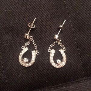Sterling silver (stamped 925)  horseshoe earrings.